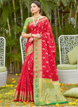 Red Woven Traditional Saree