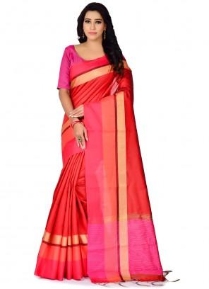 Red Woven Bhagalpuri Silk Traditional Saree