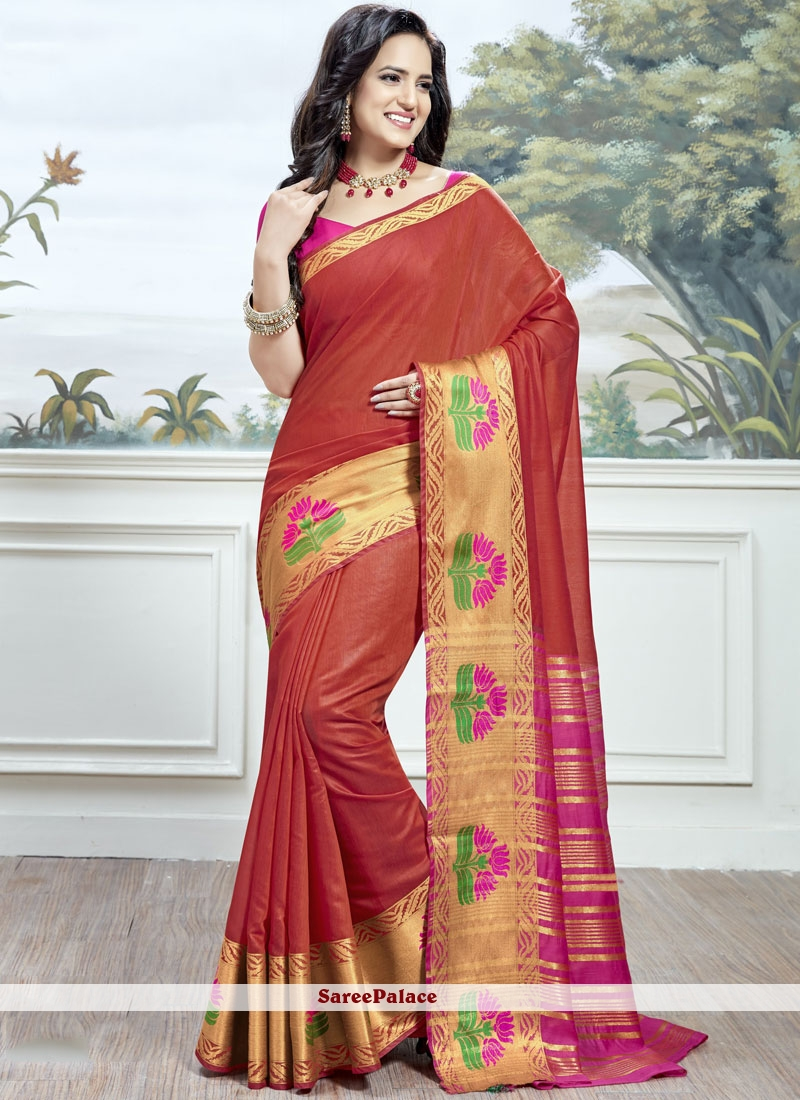 Buy Red Woven Work Cotton Silk Traditional Saree Online