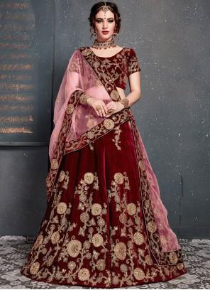 Red Zari Designer Lehenga Choli