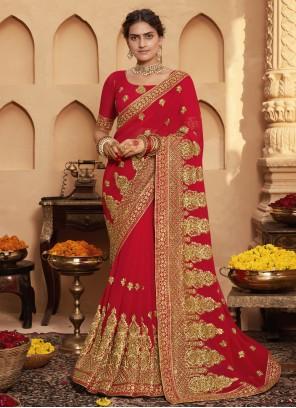 Red Zari Faux Georgette Classic Designer Saree
