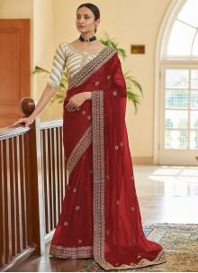 Red Zari Organza Classic Designer Saree