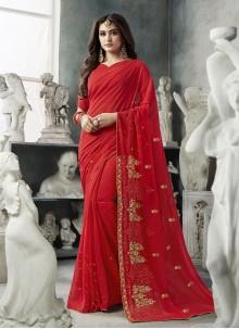 Red Zari Party Designer Saree