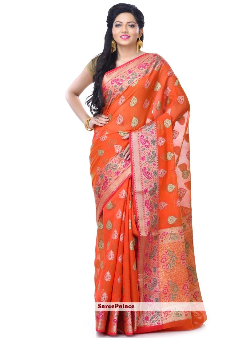 Red Zari Sangeet Classic Designer Saree