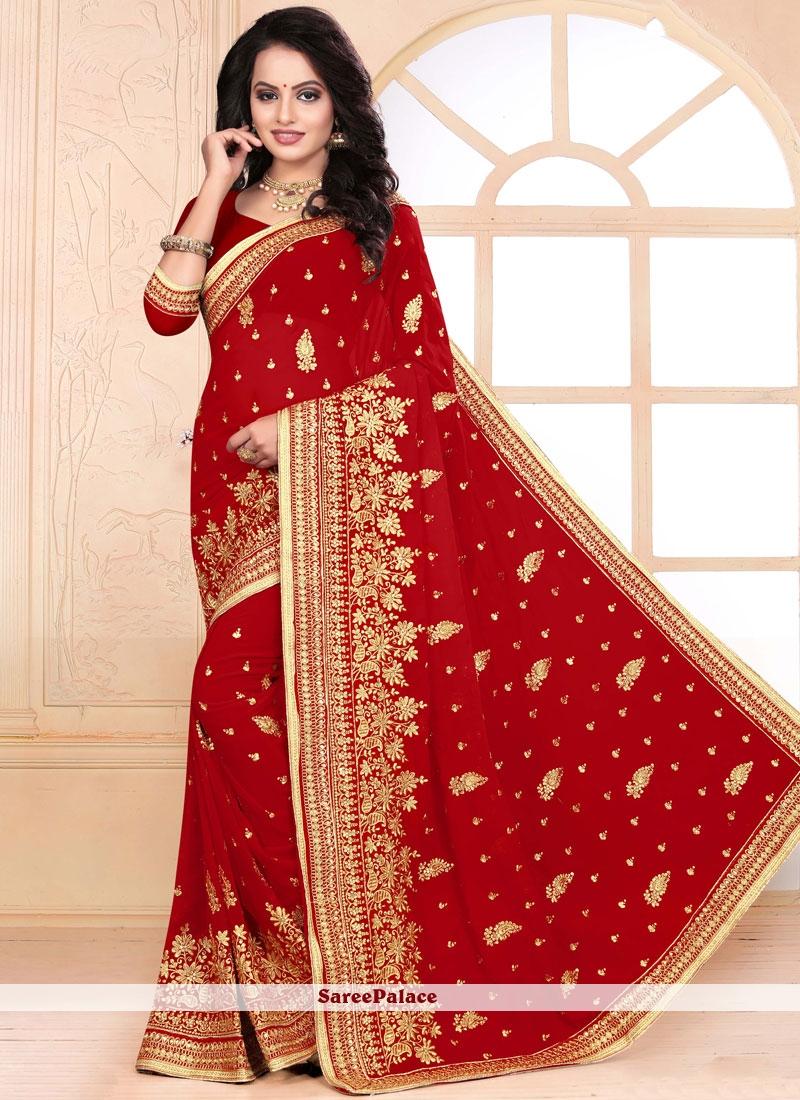 Red Zari Wedding Classic Saree