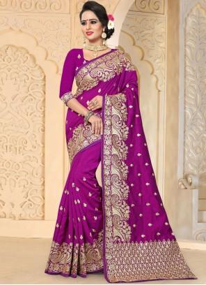Refreshing Art Silk Purple Embroidered Work Traditional Designer Saree