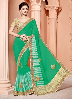 Refreshing Green Embroidered Work Bamber Georgette  Classic Designer Saree
