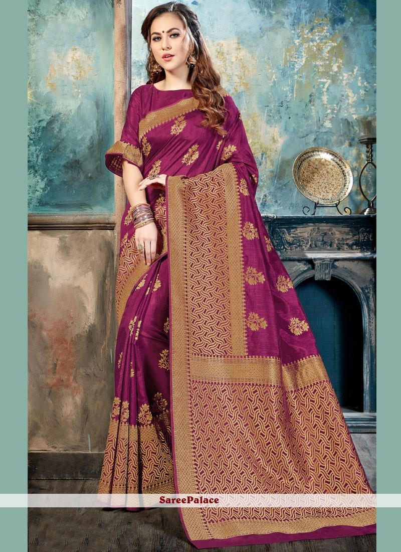 Refreshing Magenta Abstract Print Work Silk Traditional  Saree