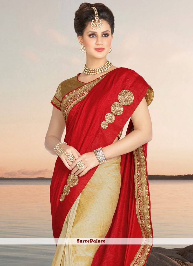 regal beige and red designer half n half saree. Black Bedroom Furniture Sets. Home Design Ideas