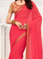 Remarkable Faux Chiffon Pink Casual Saree