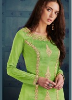 Remarkable Green Embroidered Work Pant Style Suit