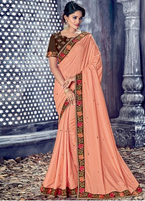 Remarkable Peach Embroidered Work Designer Saree