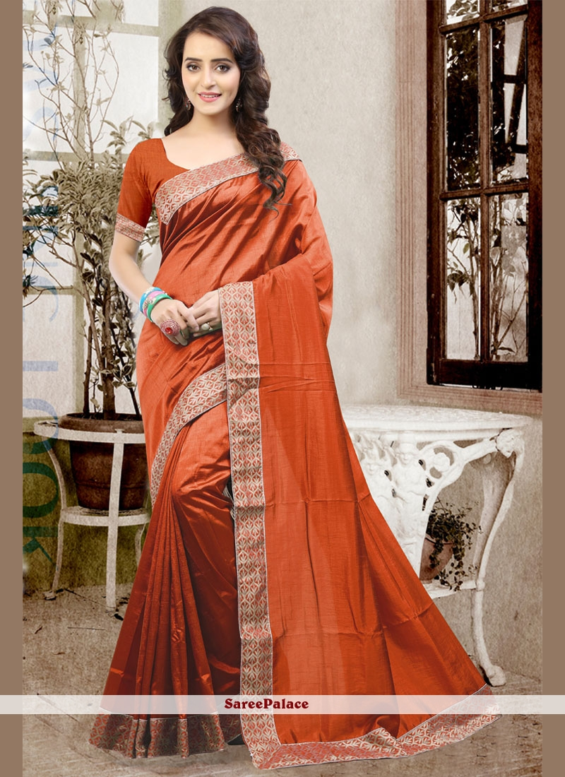 Remarkable Rust Traditional Designer Saree