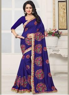 Remarkable Silk Blue Embroidered Work Designer Saree