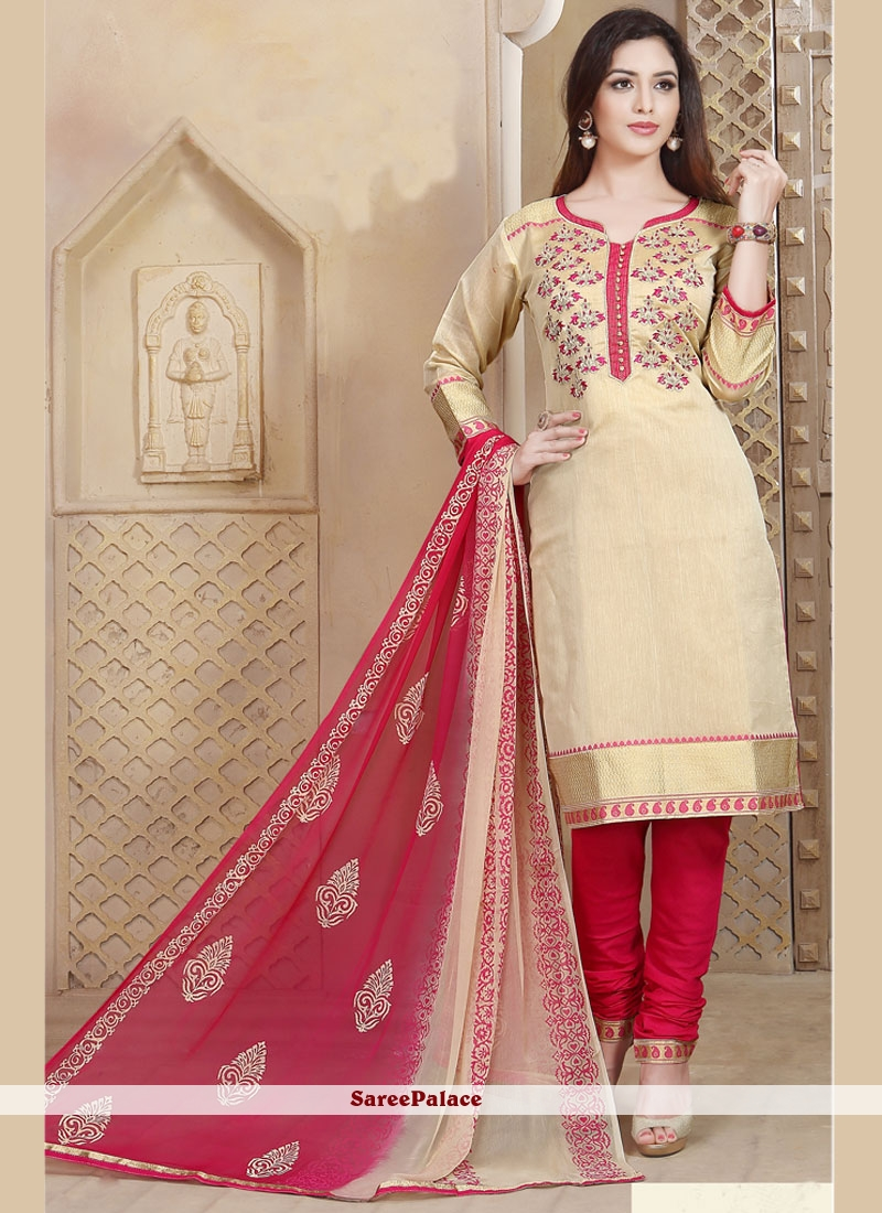 Renowned Embroidered Work Chanderi Churidar Designer Suit