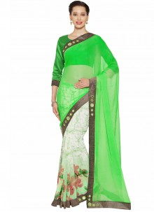Renowned Embroidered Work Green and White Half N Half  Saree