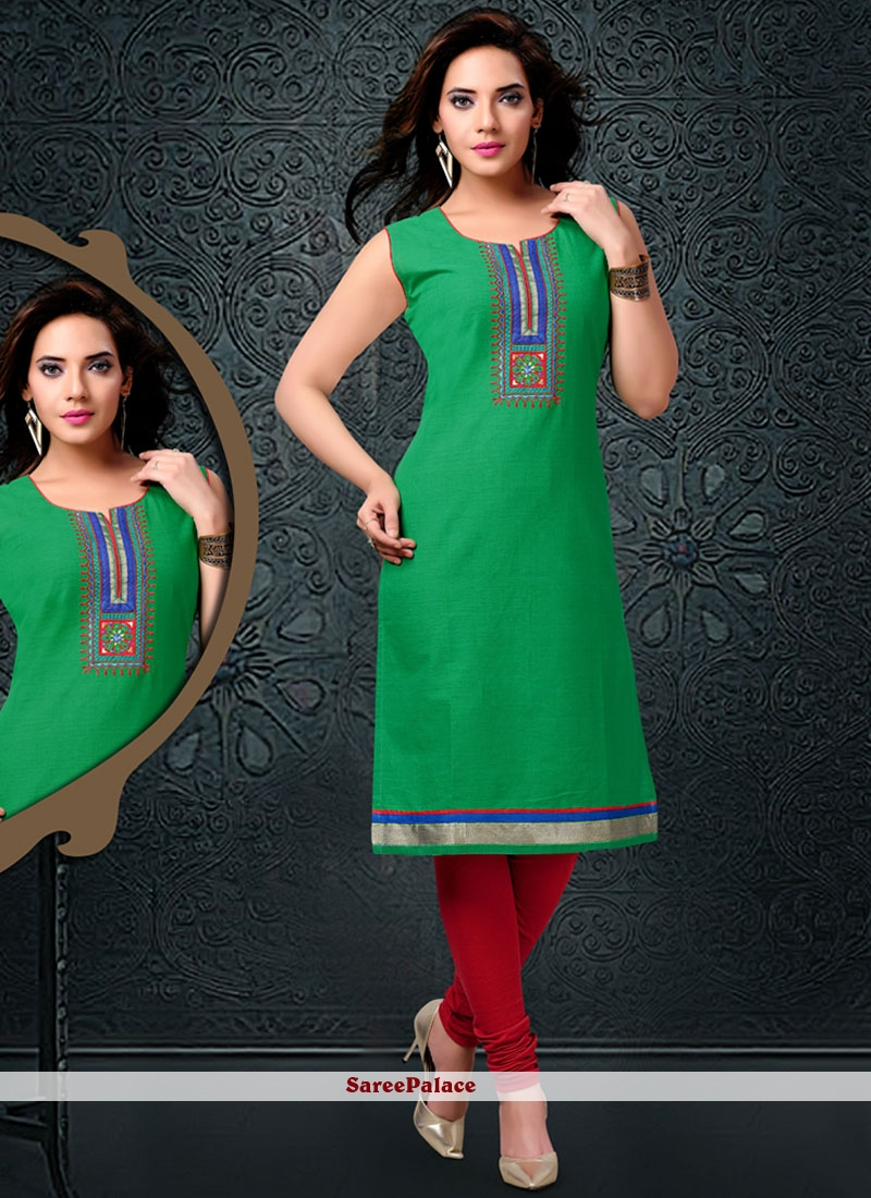 Renowned Embroidered Work Green Party Wear Kurti