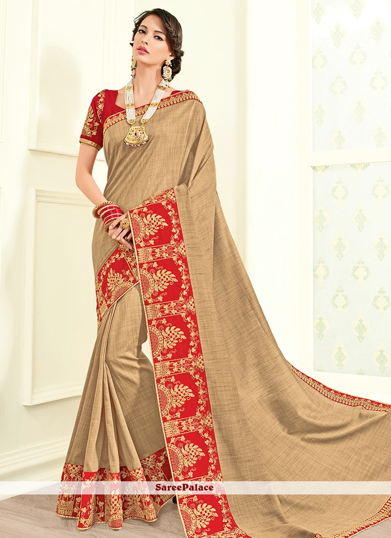 Renowned Faux Georgette Beige Classic Saree