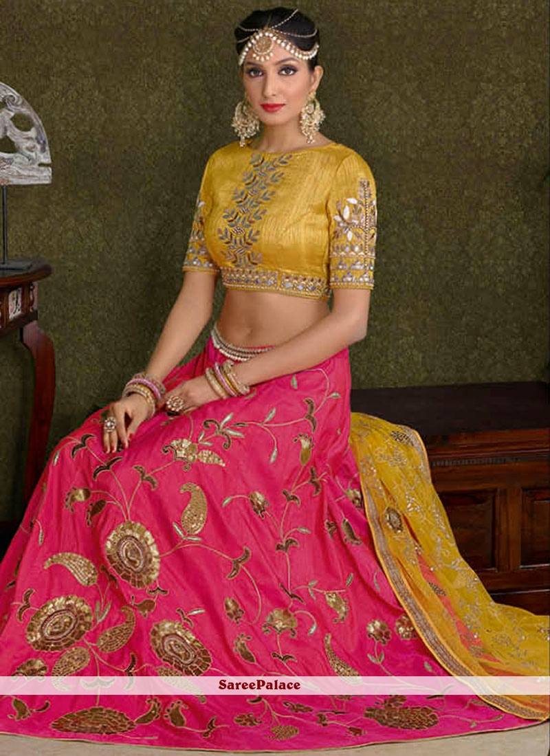 550fd9320b Buy Renowned Hot Pink And Yellow Patch Border Work Lehenga Choli Online