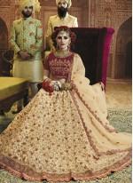 Resham Art Silk Cream Lehenga Choli