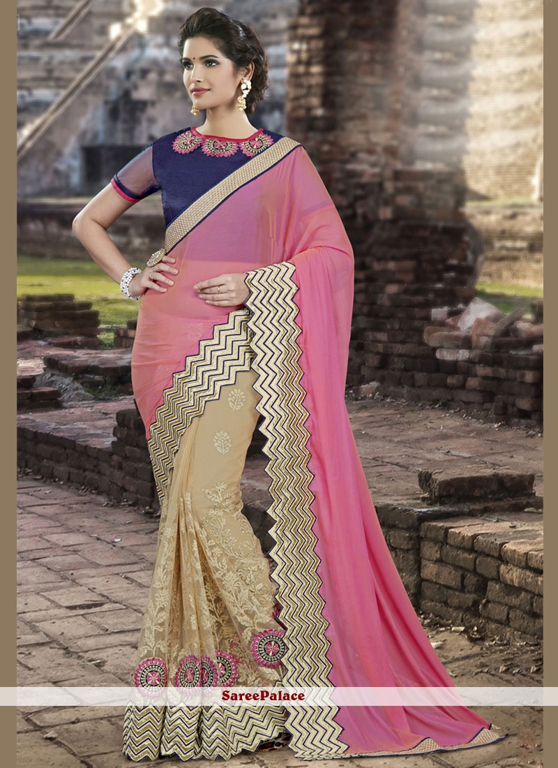 Resham Art Silk Designer Half N Half Saree in Beige and Pink