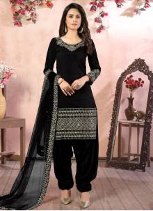 Resham Art Silk Black Designer Patiala Suit