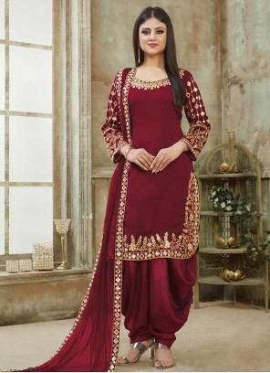 Resham Art Silk Designer Patiala Suit in Maroon