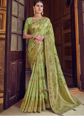 Resham Art Silk Designer Traditional Saree in Green