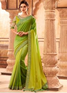 Resham Art Silk Green Classic Designer Saree