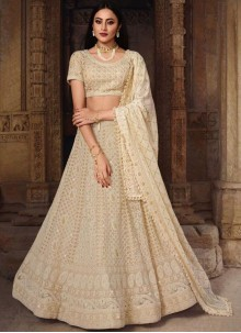 Resham Art Silk Lehenga Choli in Cream