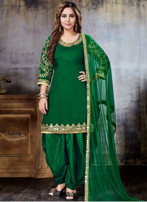 Green Resham Art Silk Punjabi Suit