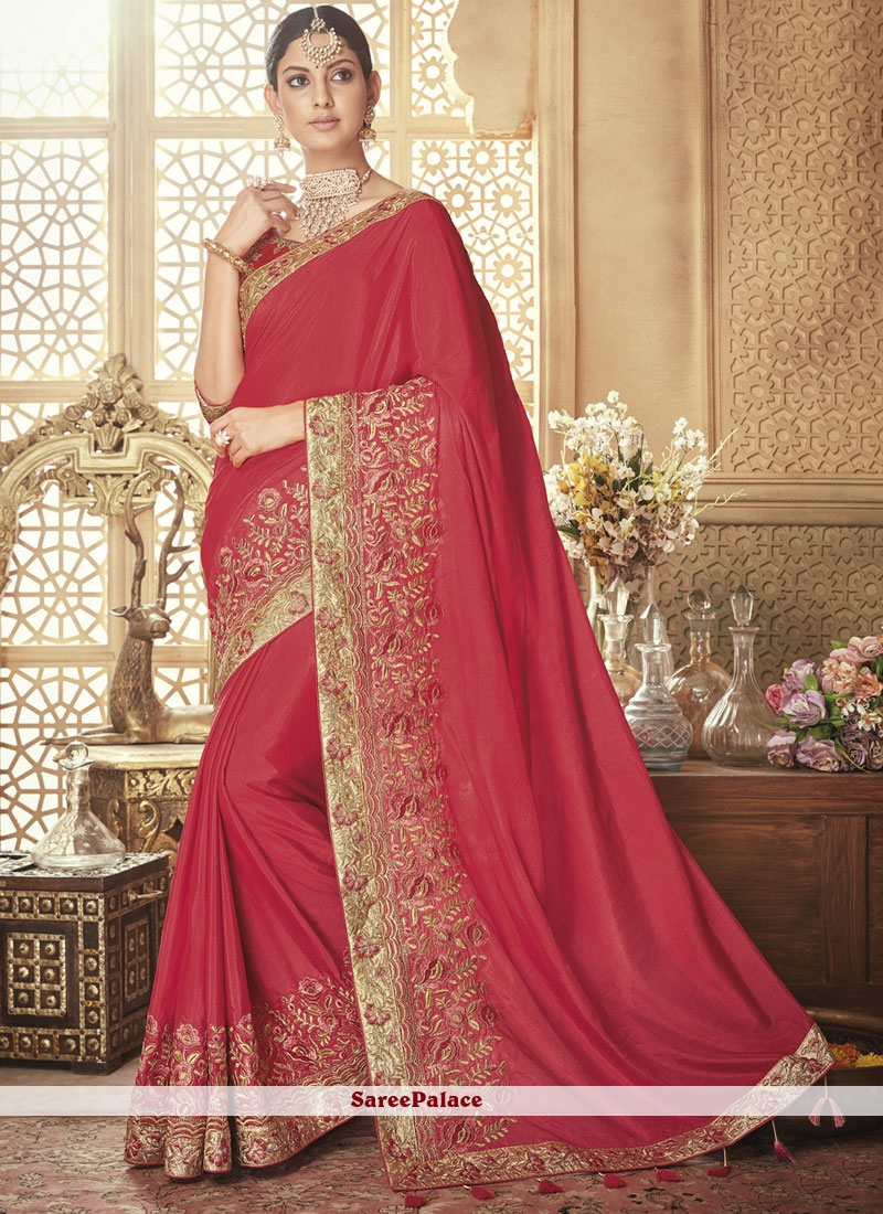 Resham Art Silk Red Traditional Designer Saree