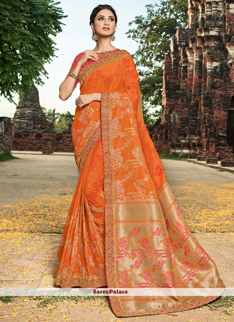 Orange Resham Art Silk Traditional Saree