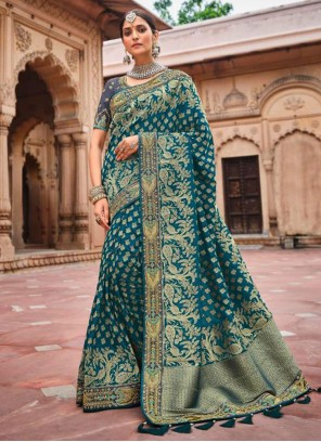 Resham Banarasi Silk Designer Traditional Saree in Morpeach