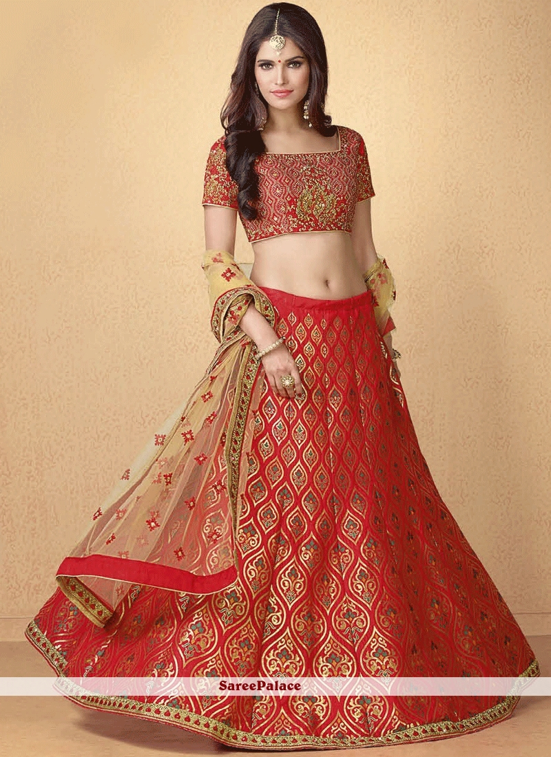 buy resham banarasi silk lehenga choli in red online