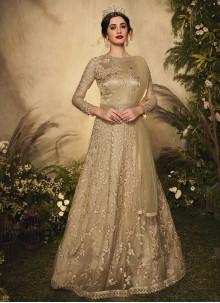 Resham Beige Net Floor Length Anarkali Suit