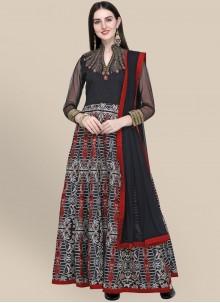 Resham Black Anarkali Salwar Suit