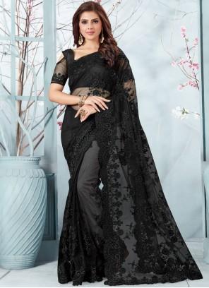 Resham Black Designer Traditional Saree