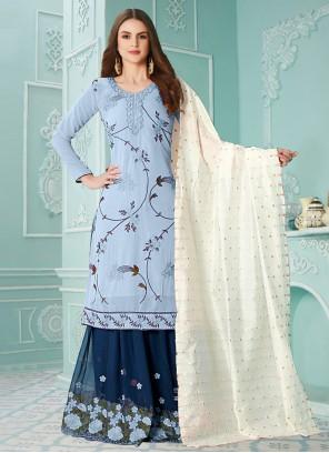 Resham Blue Designer Palazzo Suit