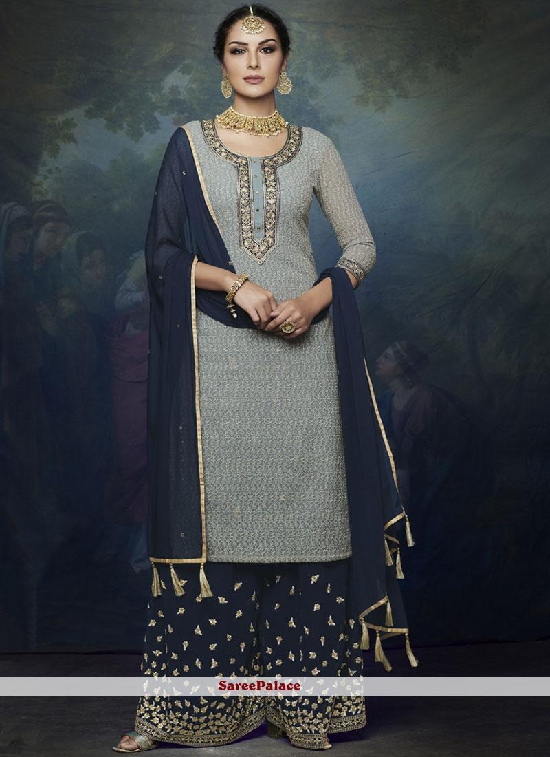 Resham Blue Faux Georgette Designer Palazzo Suit