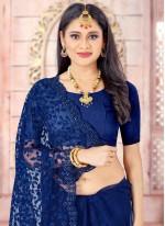 Resham Blue Net Designer Saree