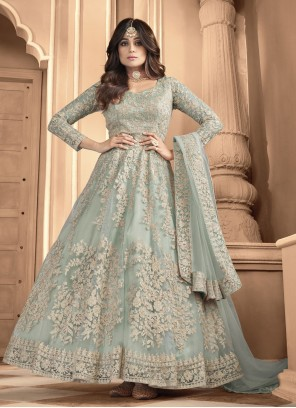 Resham Blue Shamita Shetty Floor Length Anarkali Suit