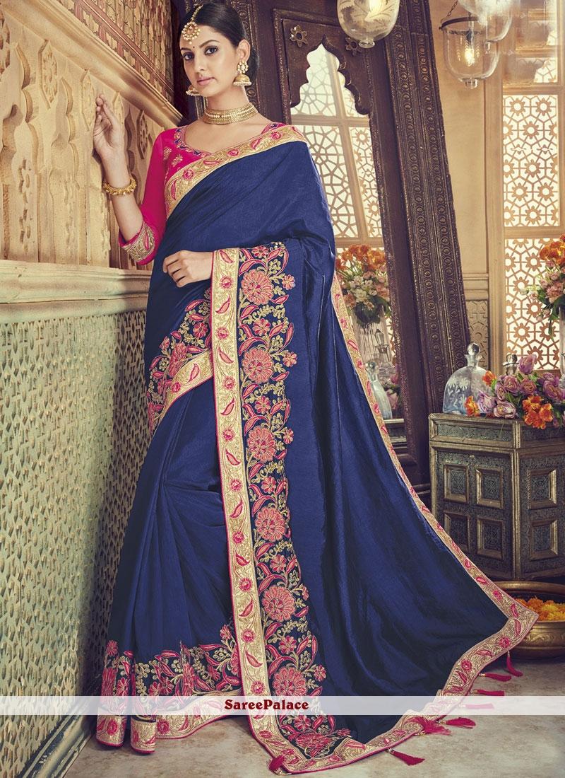 Resham Blue Traditional Saree