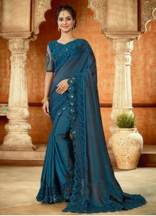 Resham Blue Trendy Saree