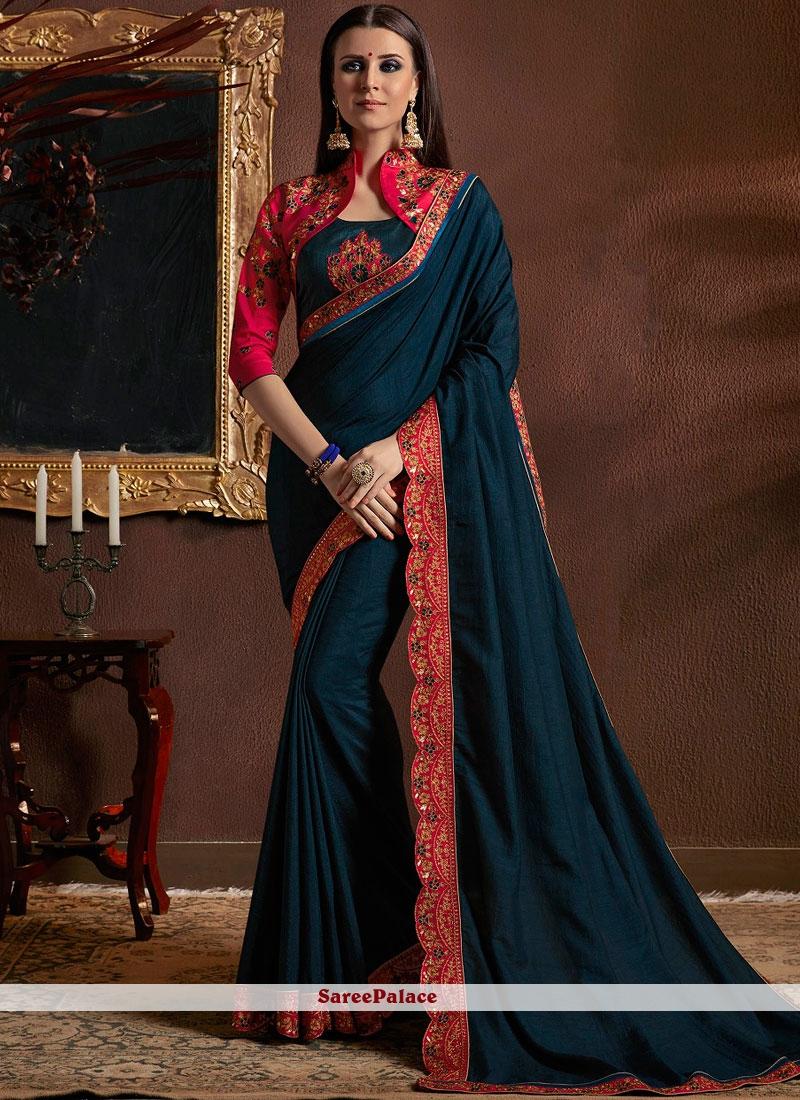 Teal Resham Bridal Classic Designer Saree