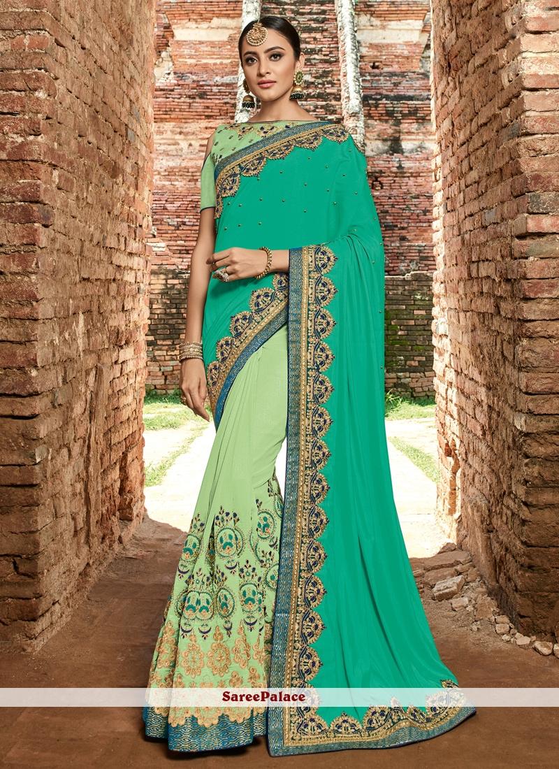 Green Resham Bridal Designer Half N Half Saree