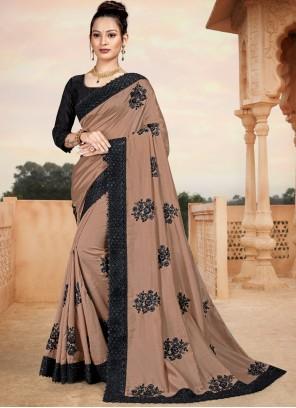 Resham Brown Silk Classic Saree