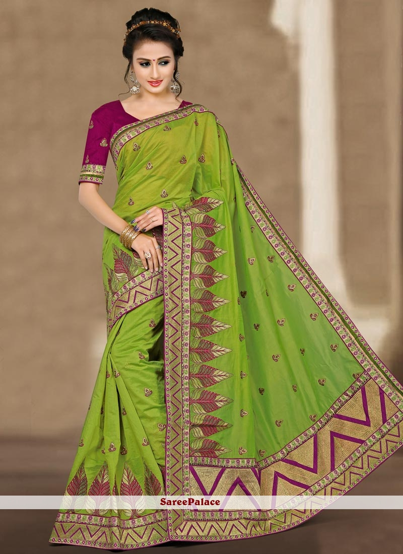 Resham Chanderi Designer Traditional Saree in Green
