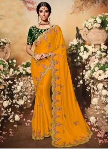 Resham Chiffon Satin Traditional Saree in Yellow