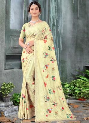 Resham Chinon Yellow Classic Designer Saree